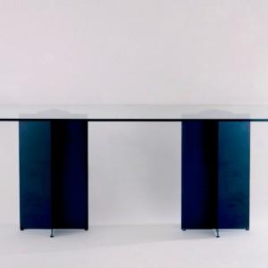 X Table  Métal bronzé et ve... 1987